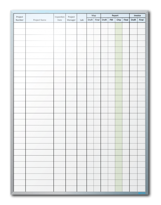 Air & Water Sciences Project Tracking Dry Erase Board