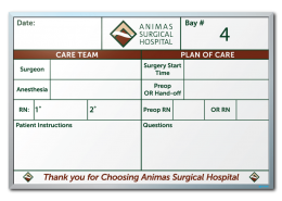"Animas Surgical Room Tracker Dry Erase Boards 24"" x 36"""