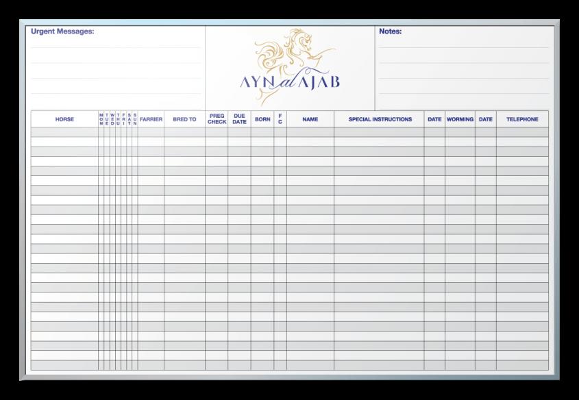 Ayn Al Ajab Horses Information Tracker Dry Erase Board