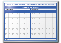 Utah Bureau of Land Management 30 and 60 Day Planner Markerboard