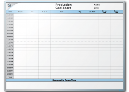 Commercial Metal Forming Production & Goal Tracker Dry Erase Board