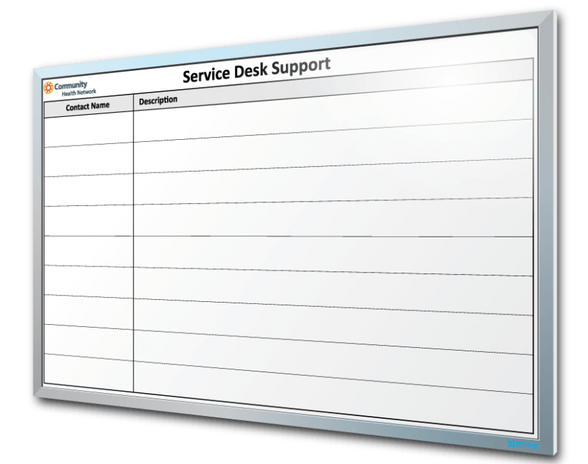 Community Health Network Service Desk Support Dry Erase Board