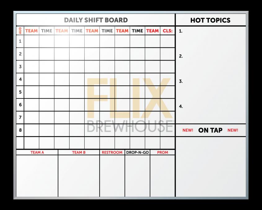 Flix Brewhouse Employee Communication Board