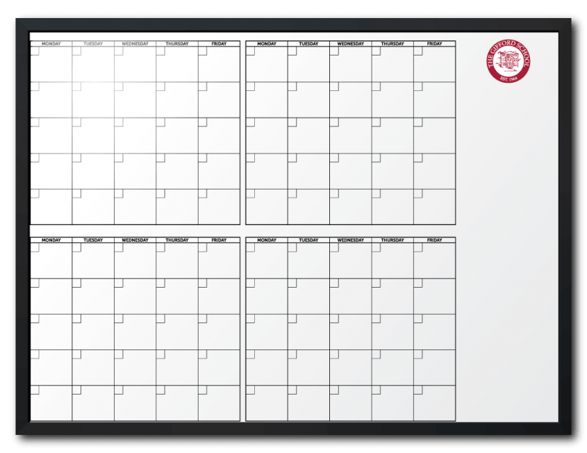 The Gifford School Customized 4-Month-At-A-Glance Calendar Dry Erase Board