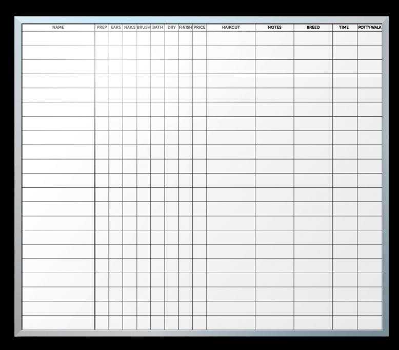 Groomadog Patient Tracker Whiteboard
