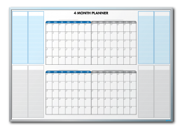 ISA Inc. Personalized 4-Month-At-A-Glance Calendar Dry Erase Board