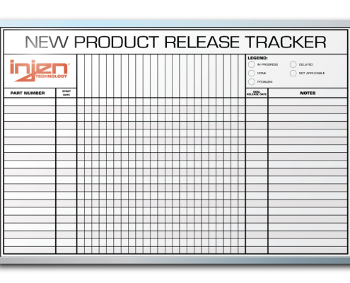 "InJen Technologies New Item Release Tracker Dry Erase Board 24"" x 36"""