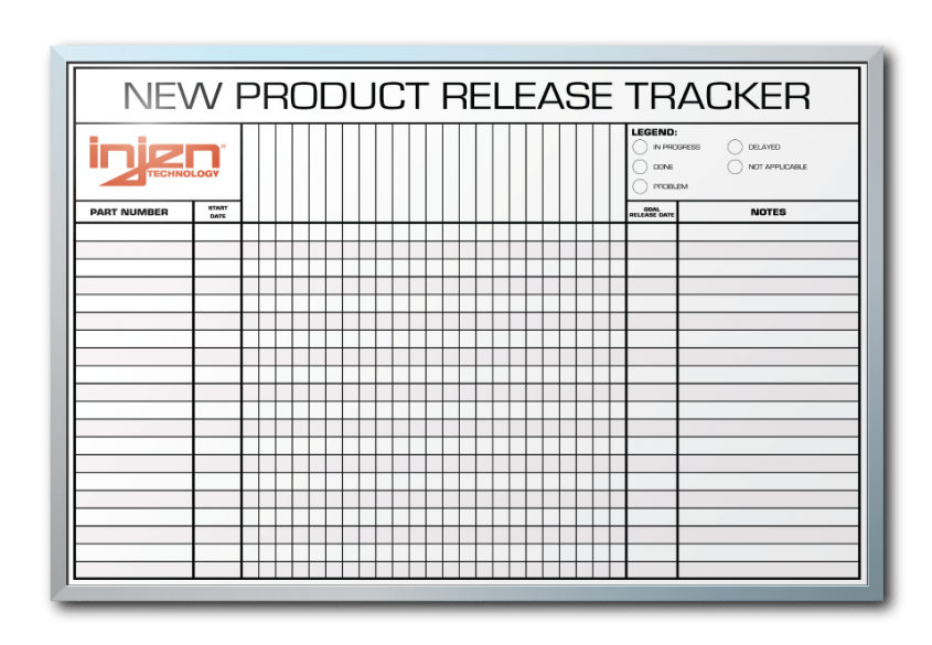 InJen Technologies New Item Release Tracker Dry Erase Board 24