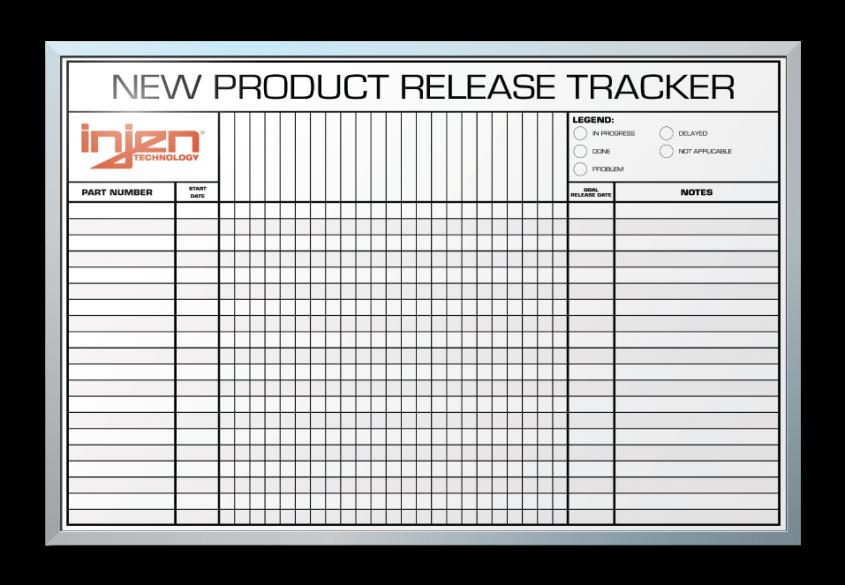 """InJen Technologies New Item Release Tracker Dry Erase Board 24"""" x 36"""""""