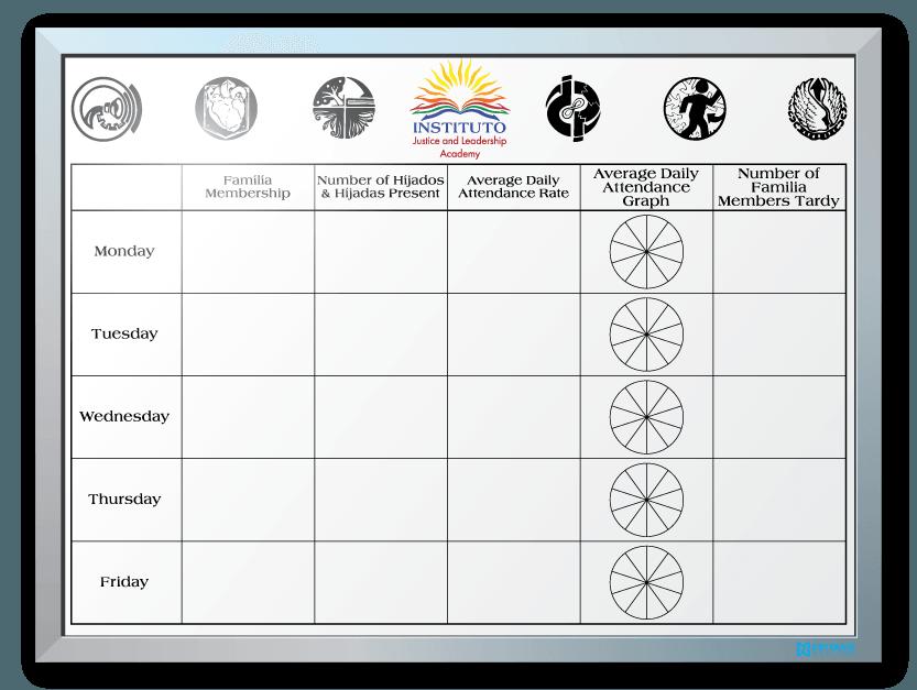 Instituto Justice & Leadership Participation/Attendance Dry Erase Board