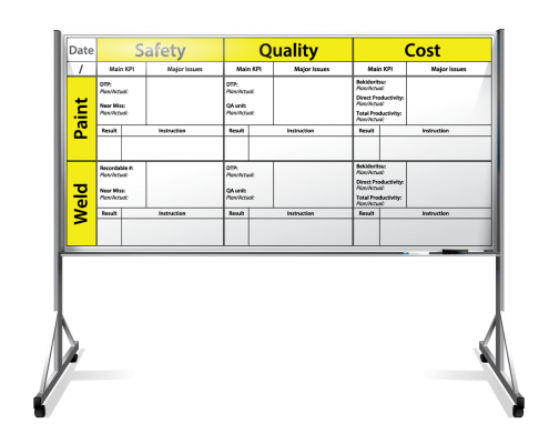 "Kubota Mfg. Production Tracker Dry Erase Board With Rolling Stand 48"" x 96"""