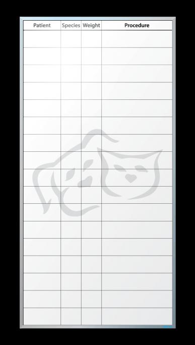 Lake Geneva Animal Hospital Patient Tracker Dry Erase Board