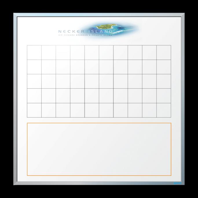 Necker Island Logo and Info Tracking Board