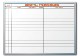 Parish UMC Hospital Status Dry Erase Board