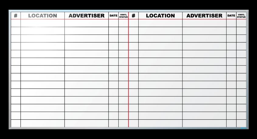 Ralston Outdoor Advertising Job Tracker Dry Erase Board