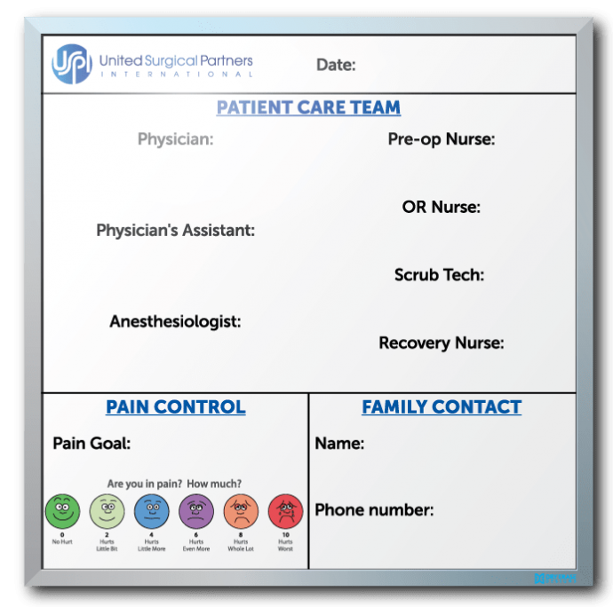 United Surgical Partners International Patient Info Tracker Dry Erase Board